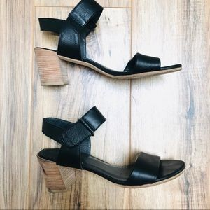 Stuart Weitzman Black Leather Block Heel Sandal